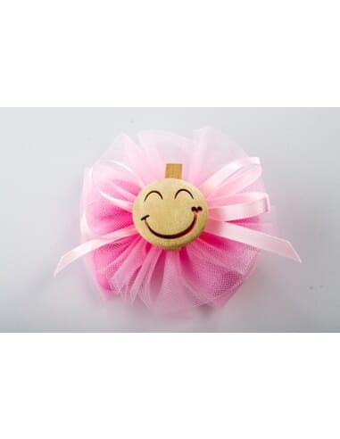 Confezione rosa con smile in legno