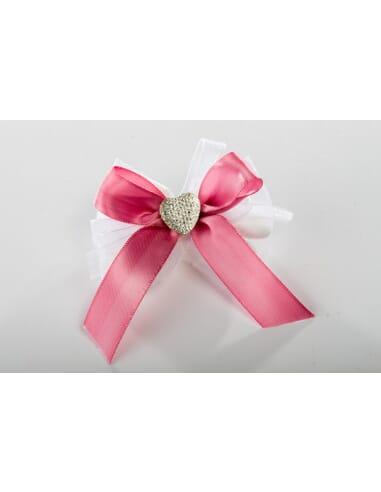 Confezione fiocco rosa con cuoricino brillante